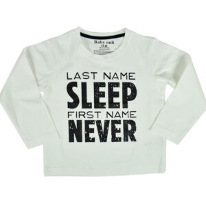 """Baby Onli Funny Slogan Cotton T-shirt (6-24 M) """"Last Name Sleep, First Name Never"""" (White)-0"""