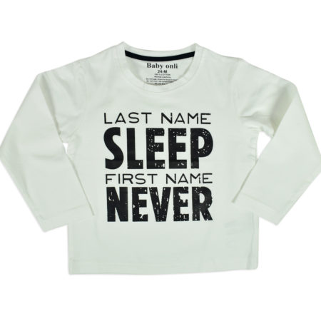"Baby Onli Funny Slogan Cotton T-shirt (6-24 M) ""Last Name Sleep, First Name Never"" (White)-0"