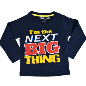 "Baby Onli Funny Slogan Cotton T-shirt (6-24 M) ""I'm the next big thing"" - Blue -0"