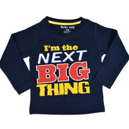 "Baby Onli Funny Slogan Cotton T-shirt (6-24 M) ""I'm the next big thing"" - Blue -0"