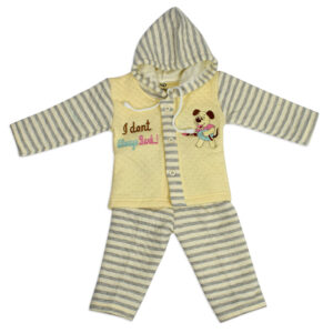 Hooded Top & Bottom Winter Set (Lining Pattern) - Yellow-0