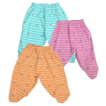 Fun Multicolor Baby Footed Legging Pack of 3 (S) - Heart Print-0