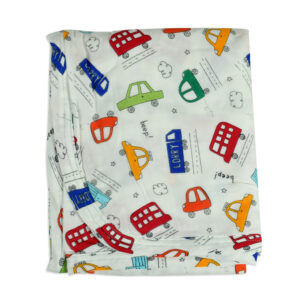 Baby Soft Wrapping Sheet for Swaddling (M) - Car Print-0