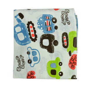 Baby Soft Cotton Wrapping Sheet for Swaddling - Car Print-0