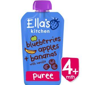 Ella's Kitchen Organic Blueberries Apples & Bananas with Vanilla Puree (4M+) - 120 gm-0