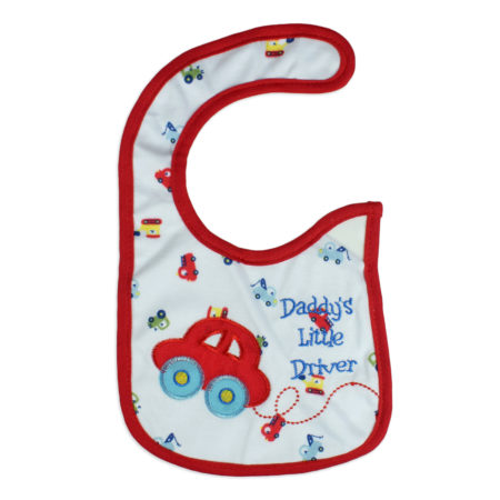Carters Knitted Little Driver Print Bib - Red-0