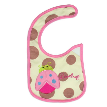 Carters Knitted Love Bug Print Bib - Pink-0