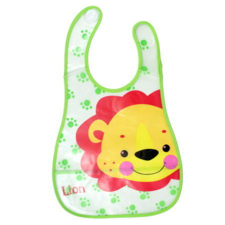 Baby Non-Spill Plastic Bib (Lion Print) - Green/Red-0