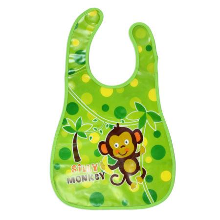 Baby Non-Spill Plastic Bib (Monkey Print) - Green-0