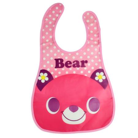 Baby Non-Spill Plastic Bib (Bear Print) - Pink-0