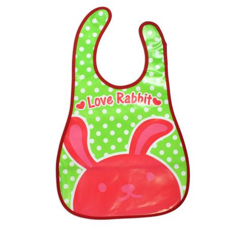 Baby Non-Spill Plastic Bib (Rabbit Print) - Green/Red-0