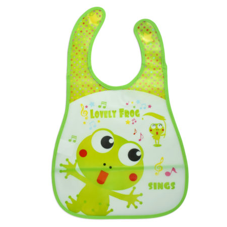 Baby Non-Spill Plastic Bib (Frog Print) - Green-0