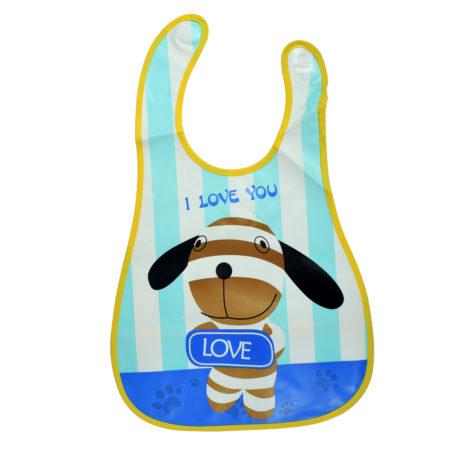 Baby Non-Spill Plastic Bib (Dog Print) - Blue/Yellow-0