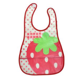 Baby Non-Spill Plastic Bib (Strawberry Print) - White/Red-0