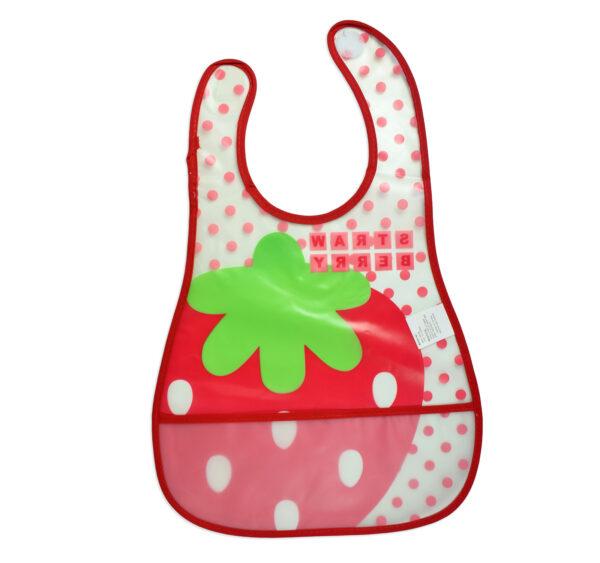 Baby Non-Spill Plastic Bib (Strawberry Print) - White/Red-18949