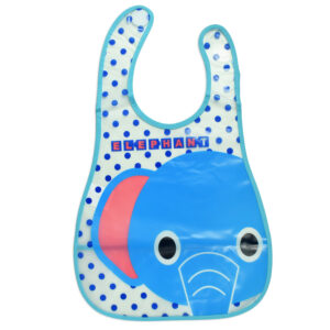 Baby Non-Spill Plastic Bib (Elephant Print) - Blue-0