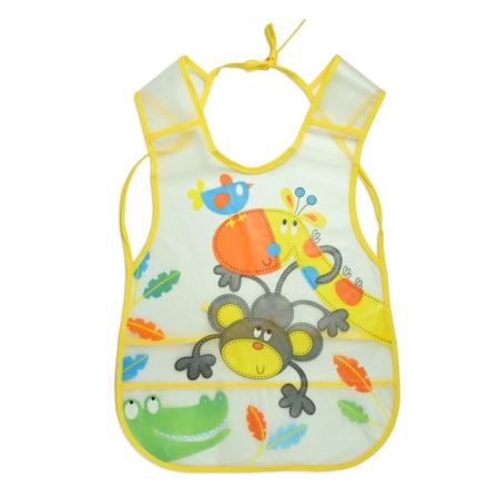 Non-Spill Plastic Bib For Infants (Monkey Print) - Yellow-0