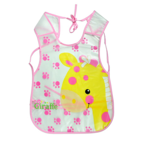 Non-Spill Plastic Bib For Infants (Girraf Print) - Pink-0