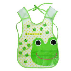 Non-Spill Plastic Bib For Infants (Frog Print) - Green-0