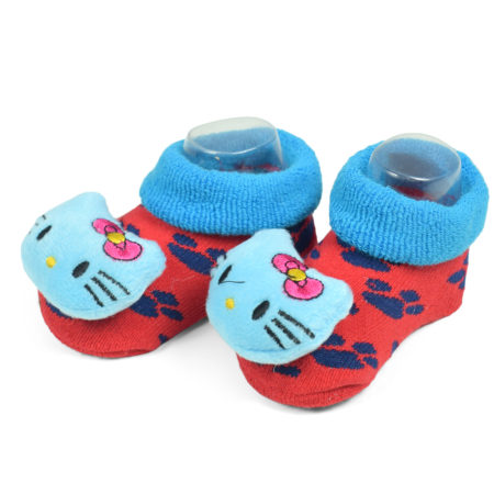 Babys World Socks Shoes With Kitty Face Motif - Blue/Red-0