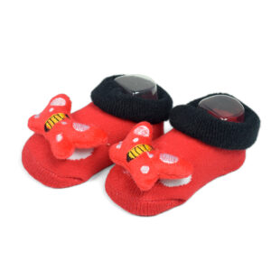 Babys World Socks Shoes With Butterfly Motif - Red-0