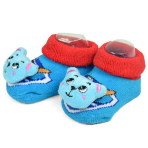 Babys World Socks Shoes With Motif - Sky Blue-0