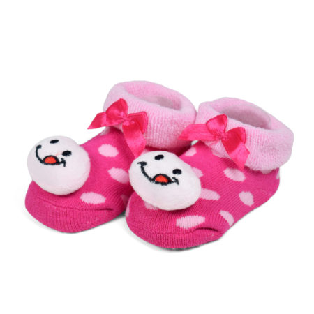 Babys World Socks Shoes With Smiley Motif - Pink-0