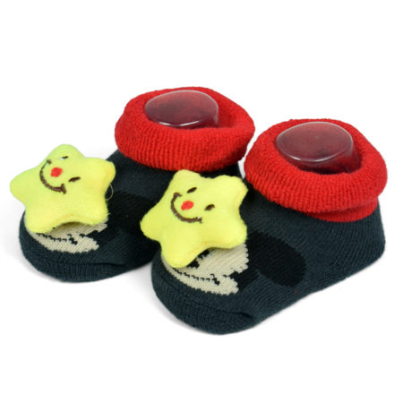 Babys World Socks Shoes With Star Motif - Black-0