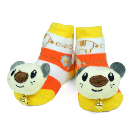 Babys World Socks Shoes With Motif - Yellow-0
