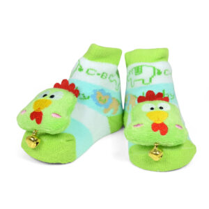Babys World Socks Shoes With Cock Motif - Green-0