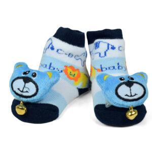 Babys World Socks Shoes With Bear Motif - Sky Blue-0