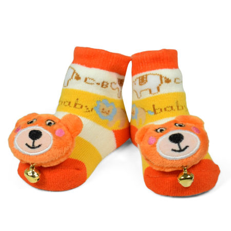 Babys World Socks Shoes With Bear Motif - Orange-0