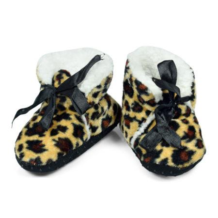 Soft Cozy Fleecy Baby Fur Shoes - Chetaah Pattern-0