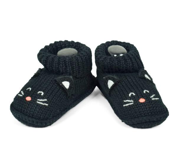 Carter's Trendy Looks Knitted Woolen Booties - Black-19306