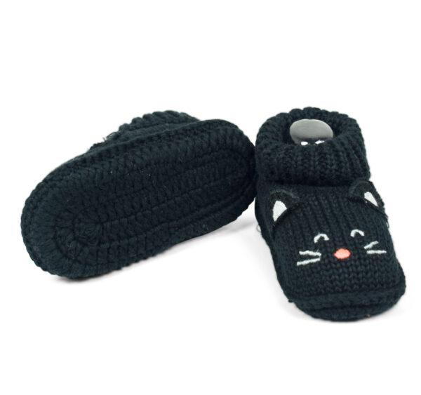 Carter's Trendy Looks Knitted Woolen Booties - Black-19305