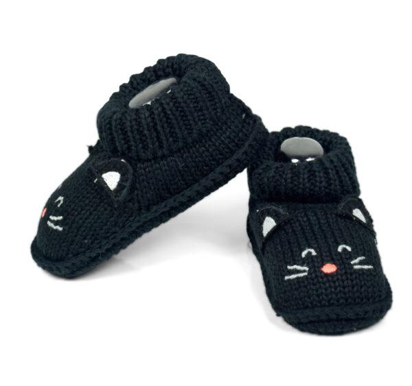 Carter's Trendy Looks Knitted Woolen Booties - Black-19304