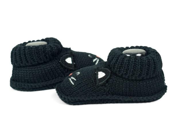 Carter's Trendy Looks Knitted Woolen Booties - Black-19302
