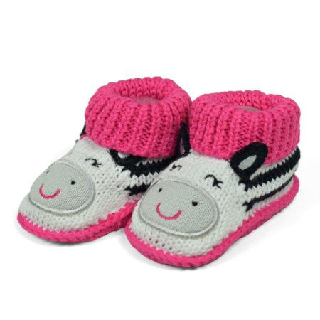 Carter's Trendy Looks Knitted Woolen Booties (Character Applique) - Pink-0