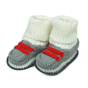 Carter's Trendy Looks Knitted Woolen Booties (Boot Style) - Grey/White-0