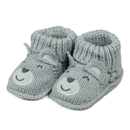 Carter's Trendy Looks Knitted Woolen Booties (Bear Applique) - Grey-0