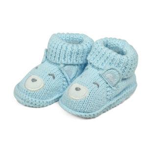 Carter's Trendy Looks Knitted Woolen Booties (Bear Applique) - Sky Blue-0