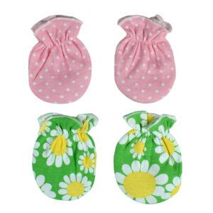 Carters Love 2 Pair of Mittens (Flower & Polka Print) - Pink/Green-0
