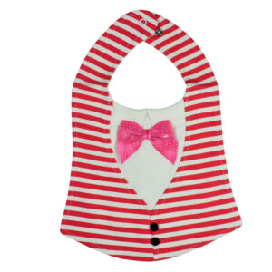 Baby Fancy Bib With Bow - Pink/White-0