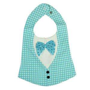 Baby Fancy Bib With Bow (Check Pattern)- Aqua/White-0