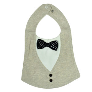Baby Fancy Bib With Bow (Solid Color) - Grey-0