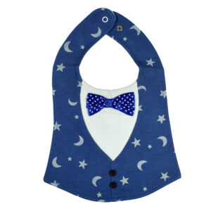 Baby Fancy Bib With Bow (Solid Color) - Blue-0