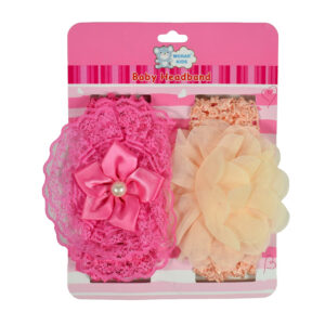 Baby Head Band With Flower Applique (Pack of 2) - Pink/Peach-0