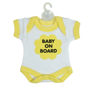 Baby On Board Sign Hanger (Onesies Style) - Yellow-0