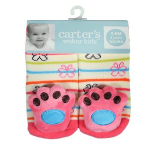 Carters Anti-Skate Sock Shoes With Animal Foot Motif - Peach-0