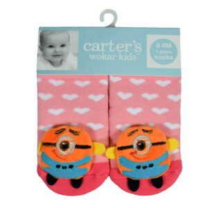 Carters Anti-Skate Sock Shoes With Minions Motif - Peach-0